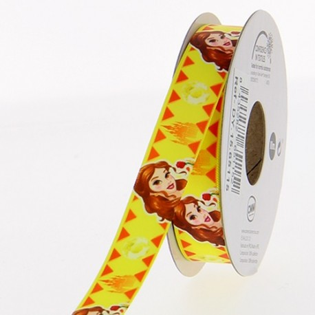 Satin ribbon Disney, Belle 15mm - yellow