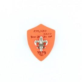 Heraldry brooch Lily 1979 - fluroescent orange