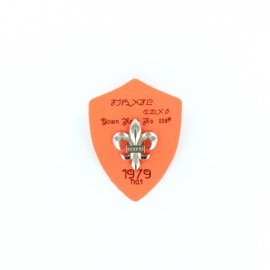 Heraldry brooch Lily 1979 - fluroescent orange