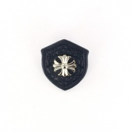 Broche blason croix bleu marine