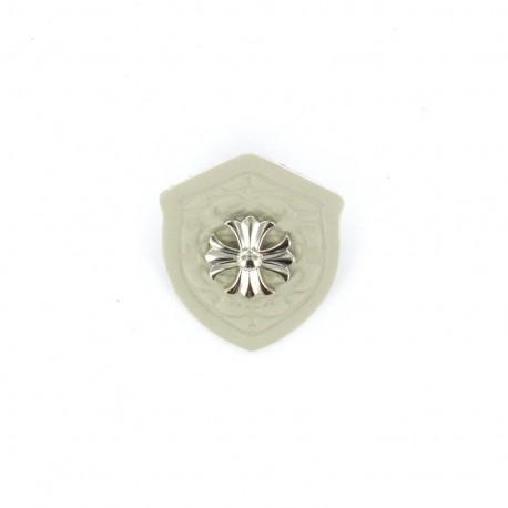 Heraldry brooch Cross - beige