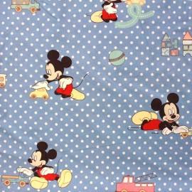 Tissu coton Disney Little Mickey bleu x 63 cm