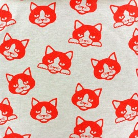Tissu Jersey Cute Kitty rouge x 10cm