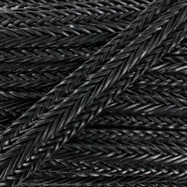 Braided Imitation leather ribbon 35 mm - black x 50 cm