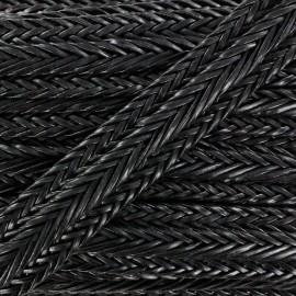 Ruban tressé simili cuir 35 mm noir x 50 cm