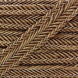 Ruban tressé simili cuir 35 mm brun x 50 cm