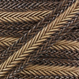 Braided Imitation leather ribbon 35 mm - bicolor - brown x 50 cm