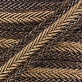 Ruban tressé simili cuir 35 mm bicolore brun x 50 cm