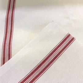 Tissu toile torchon rouge x 10cm