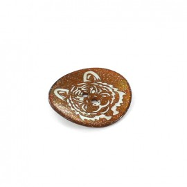 Mother-of-pearl button, Tiger - brown