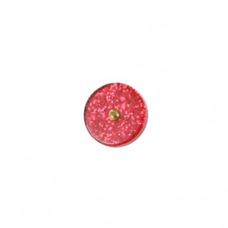 Polyester button Trendy - glitter red