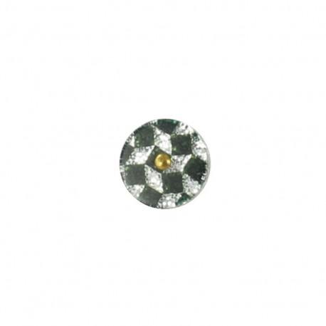 Polyester button Trendy  - glitter silver checkerboard