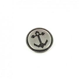 Bouton métal Ancre pixel argenté