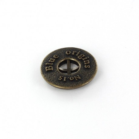 Metal button Blue Origins - bronze
