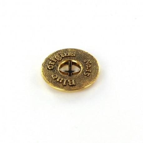 Metal button Blue Origins - golden