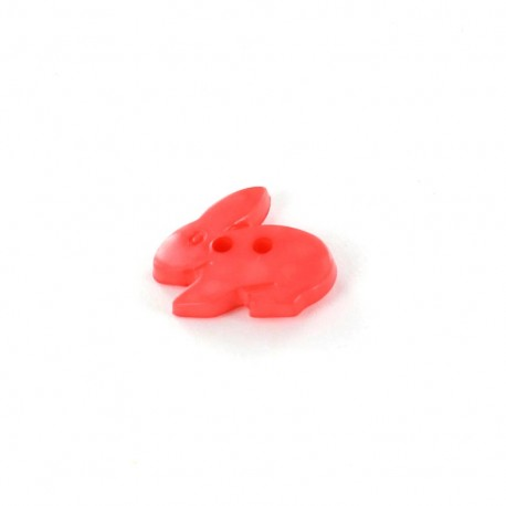 Polyester button, Little rabbit - coral