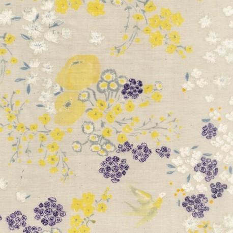 Cotton fabric Garden - light grey x 60cm