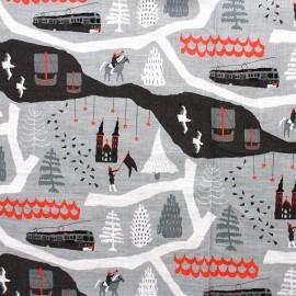 Tissu coton Travel gris x 30cm