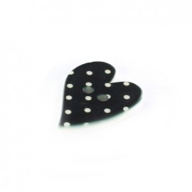 Polyester button, Amor, with white dots - black