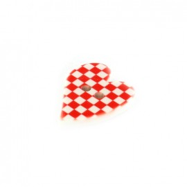 Polyester button, Amor - red gingham