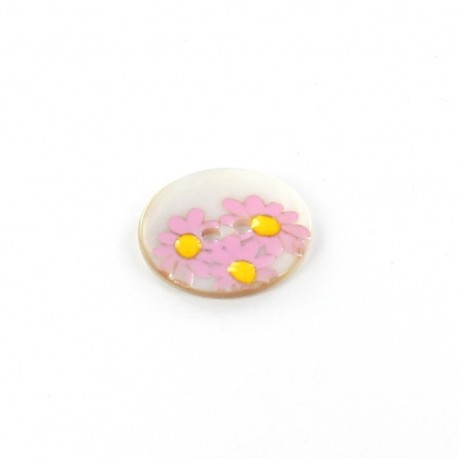 Mother-of-pearl button Daisy - pink
