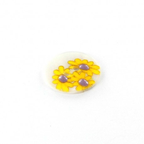 Mother-of-pearl button Daisy - yellow