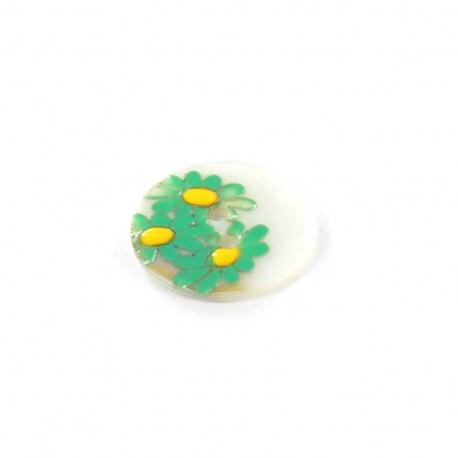 Bouton nacre Paquerette vert