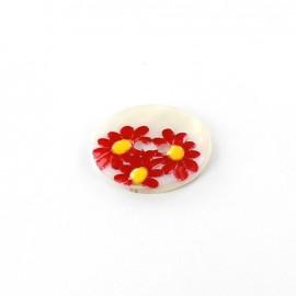 Bouton nacre Paquerette rouge