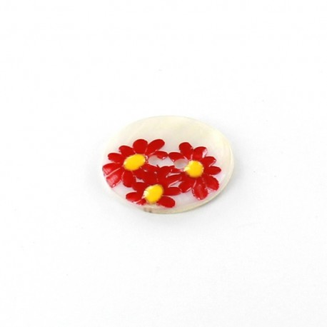 Mother-of-pearl button Daisy - red