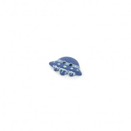 Polyester button, flying saucer - blue