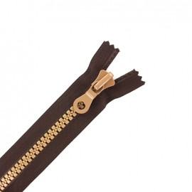 Synthetic two-tone Closed bottom zipper - brown/light brown