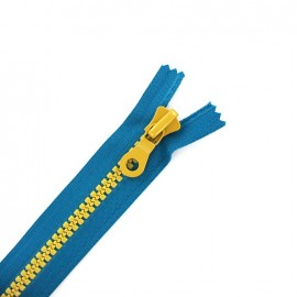 Synthetic two-tone Closed bottom zipper - petrol blue/mustard yellow