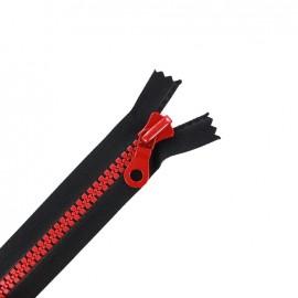 fermeture Eclair non séparable synthétique bicolore - noir/rouge -