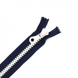 fermeture à glissière non séparable synthétique bicolore - marine/blanc -