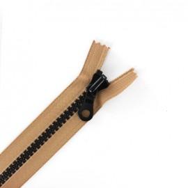 fermeture à glissière non séparable synthétique bicolore - brun/noir -