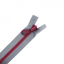 fermeture à glissière non séparable synthétique bicolore - gris/framboise -