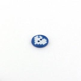 Bouton polyester Coeur pixel bleu marine