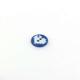 Polyester button, Pixel heart - navy blue
