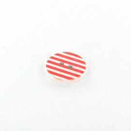 Polyester button Stripes - red