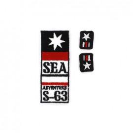 Sea Adventure iron-on applique - blue
