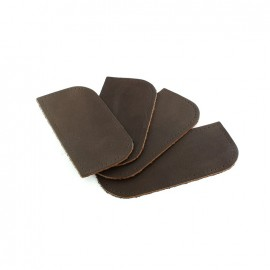 Reinforced leather corner - brown x 4