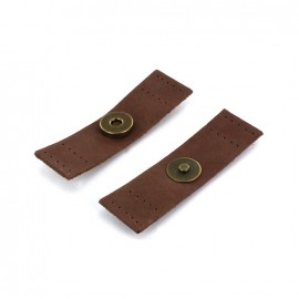 Add-on-bag leather magnetic closure strip - brown