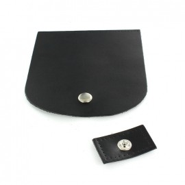 Leather flap with snap closure - black