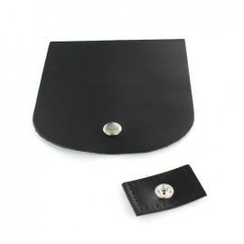 Rabat cuir avec pression noir