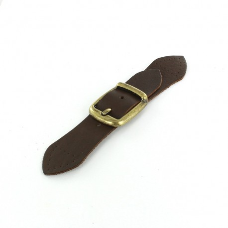 Genuine Leather toggle closure - brown