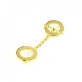 Round toggle clasp, with chain - golden