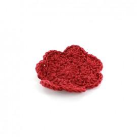 Fleur crochet grenat 50 mm