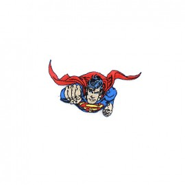 Embroidered Superman & his superpower iron-on applique - blue