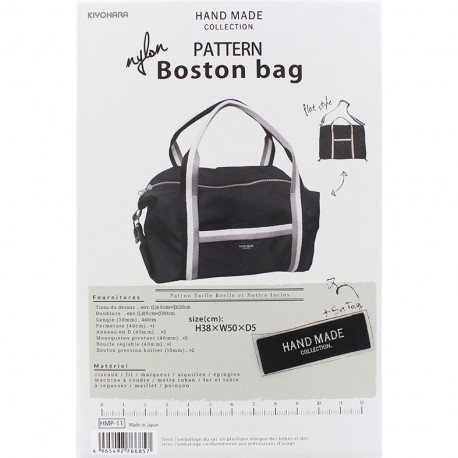 Boston Bag 38cm x 50cm x 5cm sewing pattern, HandMade Collection by Kiyohara - black