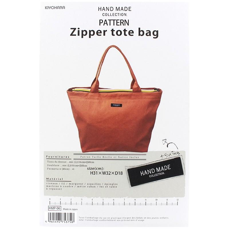 Zipper Tote Bag 31cm x 32cm x 18cm sewing pattern, HandMade ...